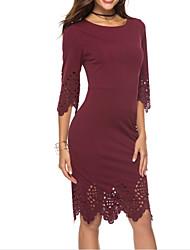 Недорогие -Жен. На выход Изысканный / Элегантный стиль Тонкие Облегающий силуэт Платье - Однотонный До колена