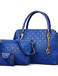baratos -Mulheres Bolsas PU Conjuntos de saco 3 Pcs Purse Set Mocassim / Cor Única Dourado / Preto / Vermelho