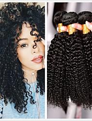 baratos -4 pacotes Cabelo Mongol Kinky Curly Cabelo Humano Peça para Cabeça / Extensor / Cabelo Bundle 8-28 polegada Tramas de cabelo humano Fabrico à Máquina Clássico / Natural / Melhor qualidade Preta Côr