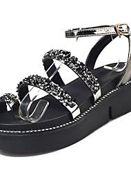 baratos -Mulheres Sapatos Couro Ecológico Verão Conforto Sandálias Creepers Ponta Redonda Preto / Prata