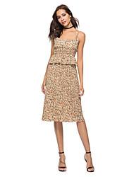 baratos -Mulheres Para Noite Delgado Evasê Vestido Com Alças Altura dos Joelhos