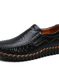 Недорогие -Жен. Обувь Полиуретан Весна лето Удобная обувь Мокасины и Свитер На плоской подошве Круглый носок Черный / Желтый / Темно-коричневый