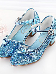 cheap -Girls' Shoes PU(Polyurethane) Spring / Fall Flower Girl Shoes Heels Bowknot / Sequin for Kids White / Blue / Pink
