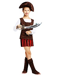 baratos -Pirata Roupa Para Meninas Dia Das Bruxas / Carnaval / Dia da Criança Festival / Celebração Trajes da Noite das Bruxas Marron Sólido / Listrado / Halloween Dia Das Bruxas