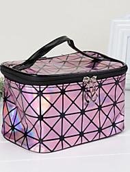 baratos -PU Leather / Poliéster Retângular Teste padrão geométrico Casa Organização, 1pç Armazenamento de Maquiagem