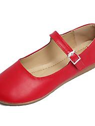 Недорогие -Жен. Обувь Полиуретан Лето Туфли Мери-Джейн На плокой подошве На плоской подошве Круглый носок Белый / Черный / Красный