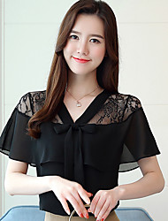 cheap -Women's Vintage Puff Sleeve Cotton Blouse - Solid Colored Black & White, Tassel