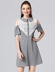 cheap -Women's Basic A Line Dress Shirt Collar