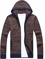 cheap -men's long sleeve cardigan - color block hooded