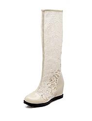 baratos -Mulheres Sapatos Renda / Couro Ecológico Primavera Verão Botas da Moda Botas Salto Plataforma Ponta Redonda Branco / Preto / Bege