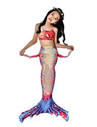 preiswerte -Die kleine Meerjungfrau Bikini / Kostüm Mädchen Halloween / Karneval Fest / Feiertage Halloween Kostüme Orange Meerjungfrau Retro