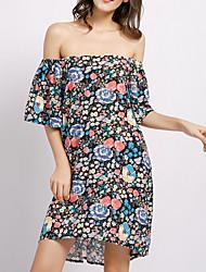 preiswerte -Damen Elegant Chiffon Kleid - Druck, Geometrisch Übers Knie