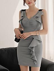 Недорогие -Жен. На выход Хлопок Тонкие А-силуэт Платье Завышенная V-образный вырез Выше колена