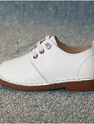 cheap -Girls' Shoes Cowhide Fall & Winter Comfort Oxfords Lace-up for Kids White / Black / Brown