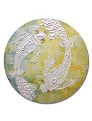 cheap -STYLEDECOR Modern Hand Painted Abstract Circular Frame Two White Fish on Yellow and Blue Background Oil