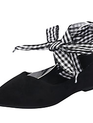baratos -Mulheres Sapatos EVA Verão Conforto Rasos Salto de bloco Dedo Apontado Laço Preto / Amêndoa
