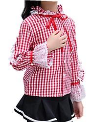 cheap -Kids Girls' Active Plaid Long Sleeve Cotton Shirt