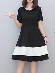 economico -Per donna Essenziale Cotone Taglia piccola Linea A Vestito - Con stampe, Monocolore Al ginocchio In bianco e nero / Estate