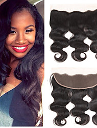 cheap -Yavida Brazilian Hair / Body Wave 4x13 Closure Wavy Free Part Swiss Lace Human Hair All With Baby Hair / Silky / African American Wig Wedding / Business / Gift