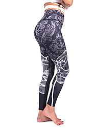 baratos -Mulheres Sexy Moletom / Calças de Yoga - Cinzento Esportes Floral Elastano Cintura Alta Meia-calça / Leggings Corrida, Fitness, Dança Roupas Esportivas Design Anatômico, Respirável, Calças Push Up