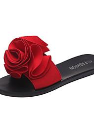 abordables -Femme Chaussures Matière synthétique Printemps été Confort / Chaussures Vulcanisées Chaussons & Tongs Talon Plat Bout ouvert Fleur en Satin Rouge / Vert / Rose