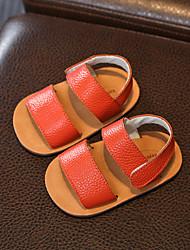 Недорогие -Девочки Обувь Кожа Лето Обувь для малышей Сандалии На липучках для Дети Черный / Оранжевый / Розовый