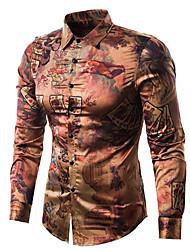 baratos -Homens Camisa Social Vintage / Activo Estampado, Geométrica