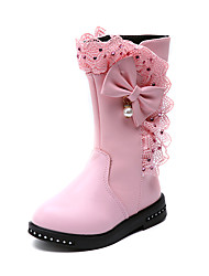 cheap -Girls' Shoes PU(Polyurethane) Spring & Summer Comfort / Fashion Boots Boots Walking Shoes for Teenager Red / Pink / Burgundy / Mid-Calf Boots