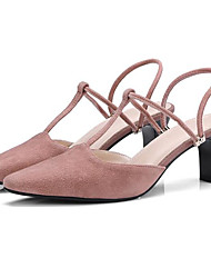 Mujer Zapatos Piel de Oveja Primavera verano Confort / Pump Básico Sandalias Tacón Cuadrado Negro / Caqui wMoGDozO