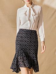 cheap -women's knee-length trumpet / mermaid skirts - geometric