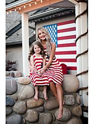 economico -Adulto / Bambino / Bambino (1-4 anni) Mamma e io A strisce Senza maniche Salopette e tuta