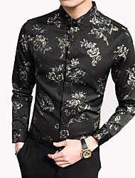 billige -Herre - Blomstret Bomuld Skjorte / Langærmet