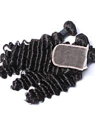 baratos -3 pacotes com fechamento Cabelo Indiano Onda Profunda 100% Remy Hair Weave Bundles Trama do cabelo com Encerramento 16 polegada Tramas de cabelo humano Natural Extensões de cabelo humano Mulheres