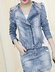 cheap -Women's Active Cotton Denim Jacket - Crystal / Rhinestone, Beaded