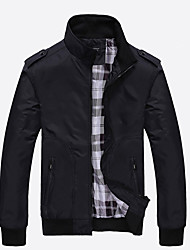 cheap -Men's Jacket - Solid Colored Stand / Long Sleeve