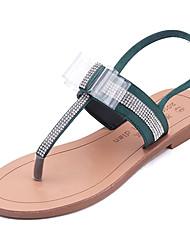baratos -Mulheres Sapatos Couro Ecológico Verão Conforto Sandálias Sem Salto Ponta Redonda Pedrarias Preto / Verde
