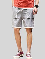 abordables -pantalones chinos / pantalones cortos para hombres - color block / patchwork de color sólido