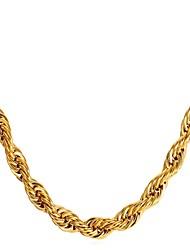 preiswerte -Herrn Seil Halsketten / Halskette - Edelstahl Gold, Schwarz, Silber 55 cm Modische Halsketten 1pc Für Geschenk, Alltag