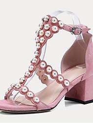 abordables -Mujer Zapatos Piel de Oveja Primavera verano Confort Tacones Tacón Cuadrado Puntera abierta Perla de Imitación / Hebilla Negro / Rosa