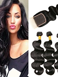 cheap -3 Bundles with Closure Peruvian Hair Wavy Virgin Human Hair / Human Hair Hair Weft with Closure 8-24 inch Human Hair Weaves Machine Made Easy dressing / Natural / Best Quality Black Natural Color