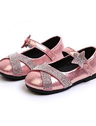 abordables -Fille Chaussures Daim Printemps été Confort / Chaussures de Demoiselle d'Honneur Fille Ballerines Marche Paillette Brillante / Scotch Magique pour Adolescent Noir / Argent / Rose