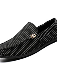 cheap -Men's Shoes Canvas Summer Moccasin / Driving Shoes Loafers & Slip-Ons White / Black / Orange / Striped