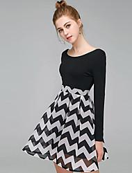 cheap -Women's Street chic A Line / Skater Dress - Striped / Geometric Print