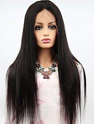 cheap -Remy Human Hair Full Lace Wig Brazilian Hair Straight Wig Asymmetrical Haircut 130% / 150% / 180% Women / Easy dressing / Sexy Lady Black Women's Long Human Hair Lace Wig