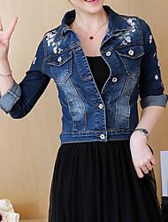 baratos -Mulheres Jaqueta jeans Básico - Floral, Algodão Bordado / Outono