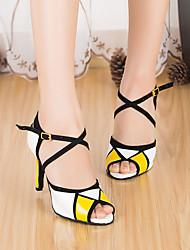 cheap -Women's Latin Shoes PU(Polyurethane) Heel Thick Heel Dance Shoes Yellow