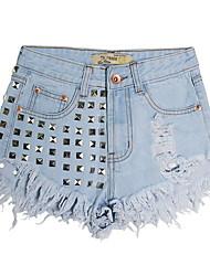 abordables -Mujer Básico Vaqueros Pantalones - Un Color Con Cuentas / Verano / Noche