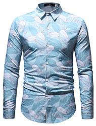 Недорогие -Муж. С принтом Рубашка Деловые / Классический Контрастных цветов Тропический лист