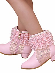 cheap -Girls' Shoes Faux Leather Spring &  Fall Fashion Boots / Flower Girl Shoes Boots for Purple / Pink / Booties / Ankle Boots