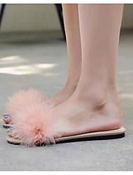 cheap -Women's Shoes Nappa Leather Spring / Summer Comfort Slippers & Flip-Flops Flat Heel Black / Pink / Almond